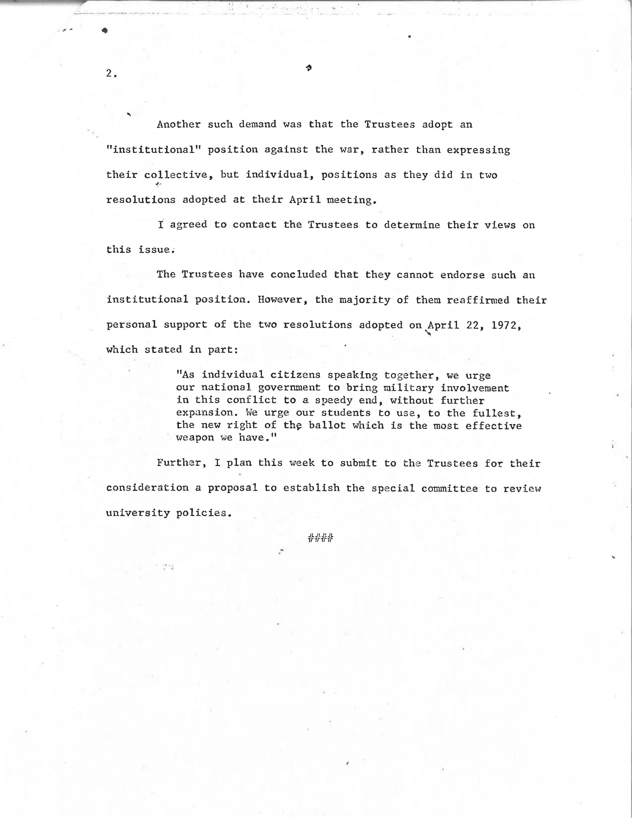 on the banks of the red cedar president wharton statement on anti president wharton statement on anti war demands page 2