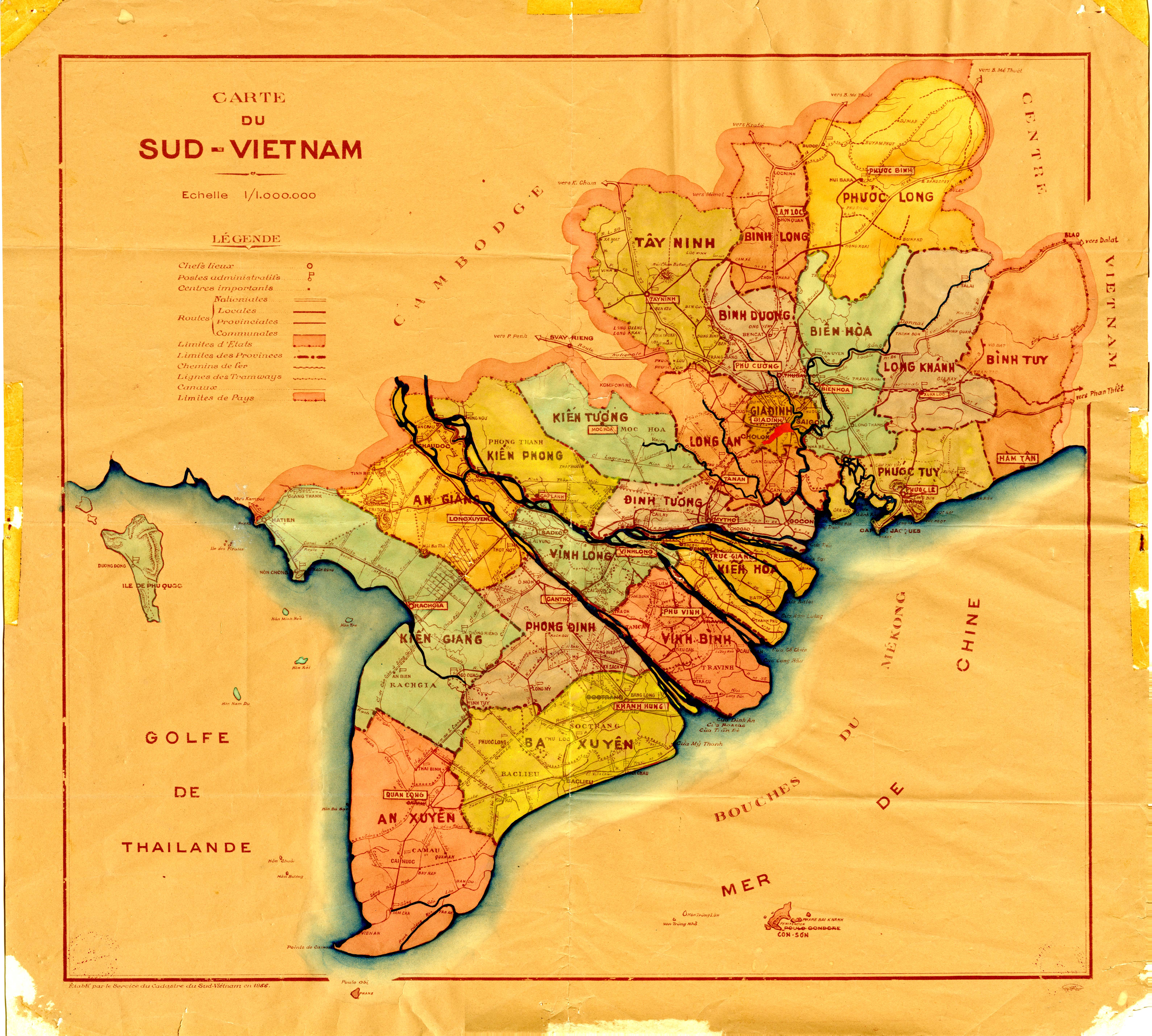 French Map of South Vietnam, 1956