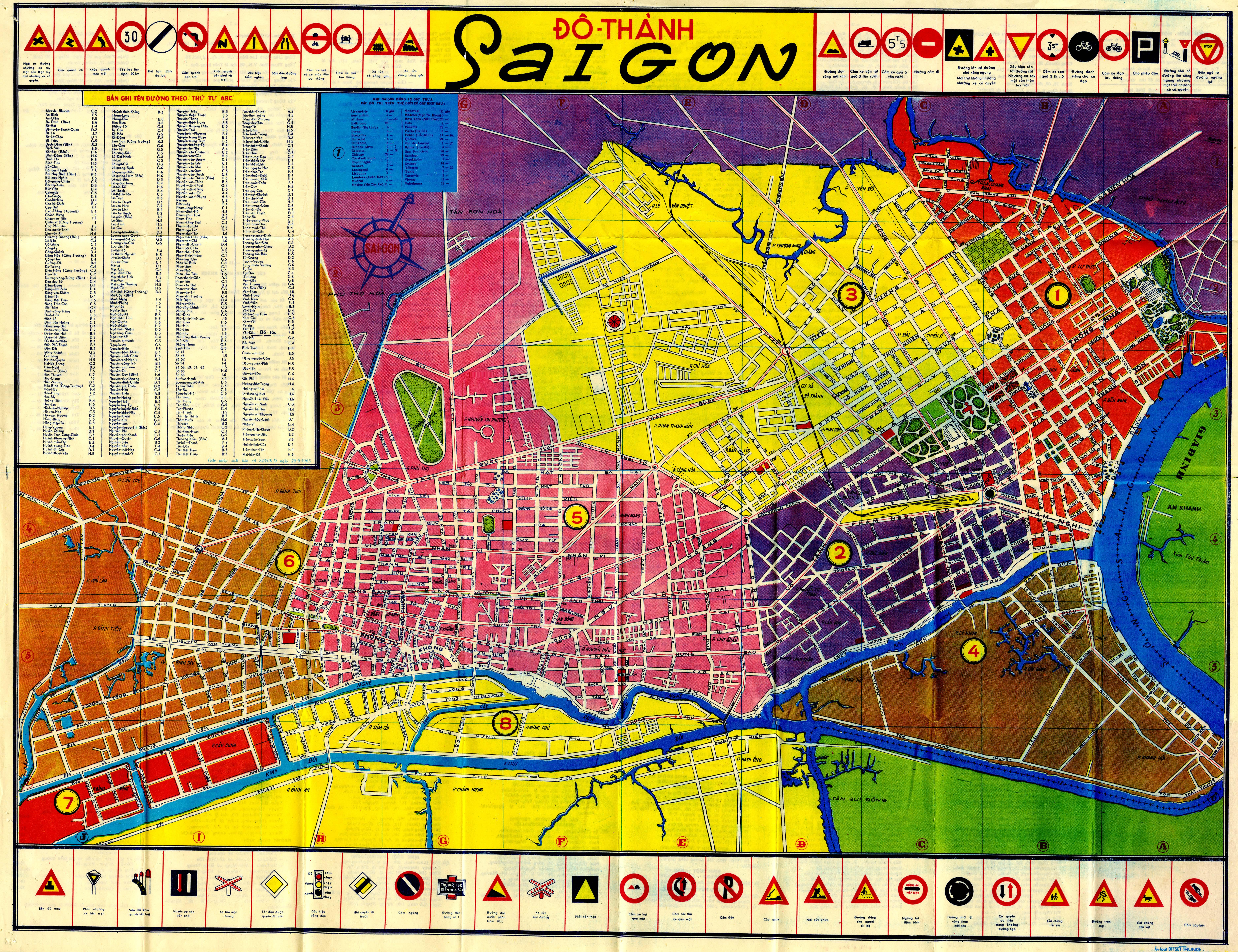 Map of Saigon, South Vietnam, 1965