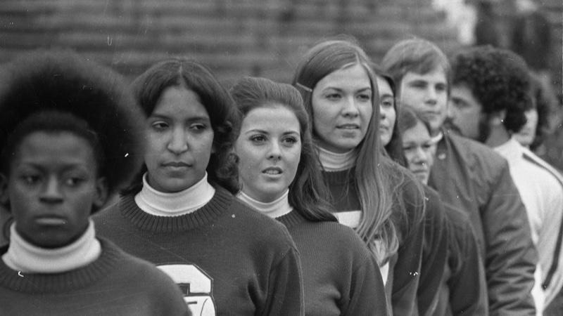 MSU Cheerleaders ( 1972). Michigan State University cheerleaders at the MSU vs Northwestern football game on November 25, 1972.